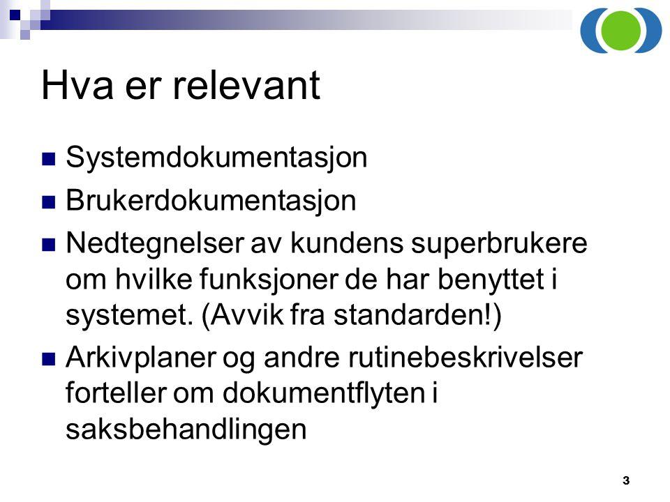 3 Hva er relevant Systemdokumentasjon Brukerdokumentasjon Nedtegnelser av kundens superbrukere om hvilke funksjoner de har benyttet i systemet. (Avvik