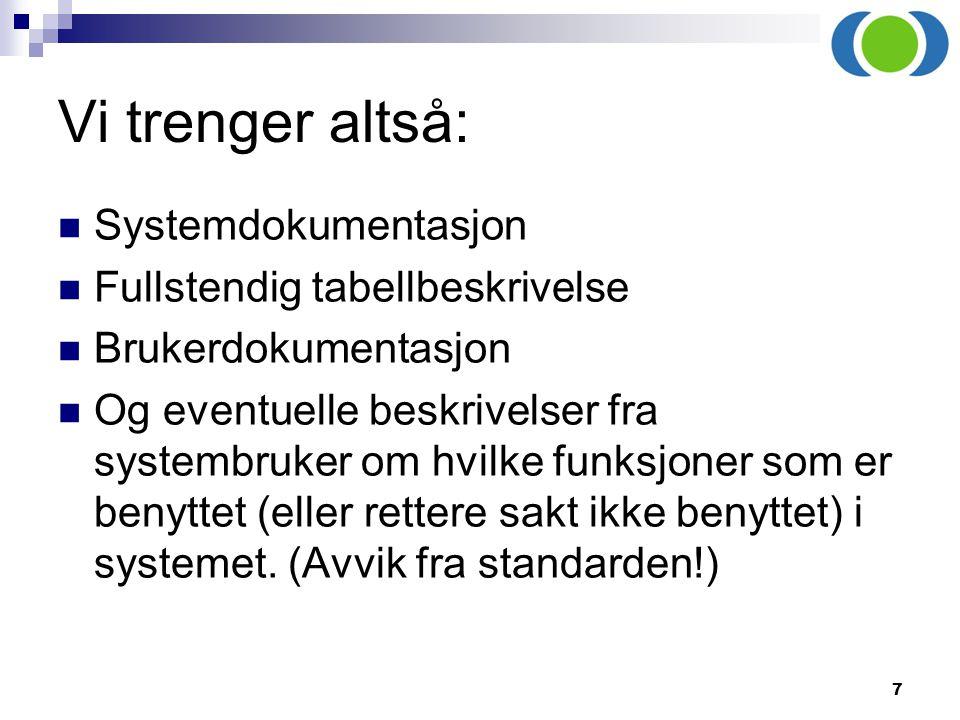 7 Vi trenger altså: Systemdokumentasjon Fullstendig tabellbeskrivelse Brukerdokumentasjon Og eventuelle beskrivelser fra systembruker om hvilke funksj