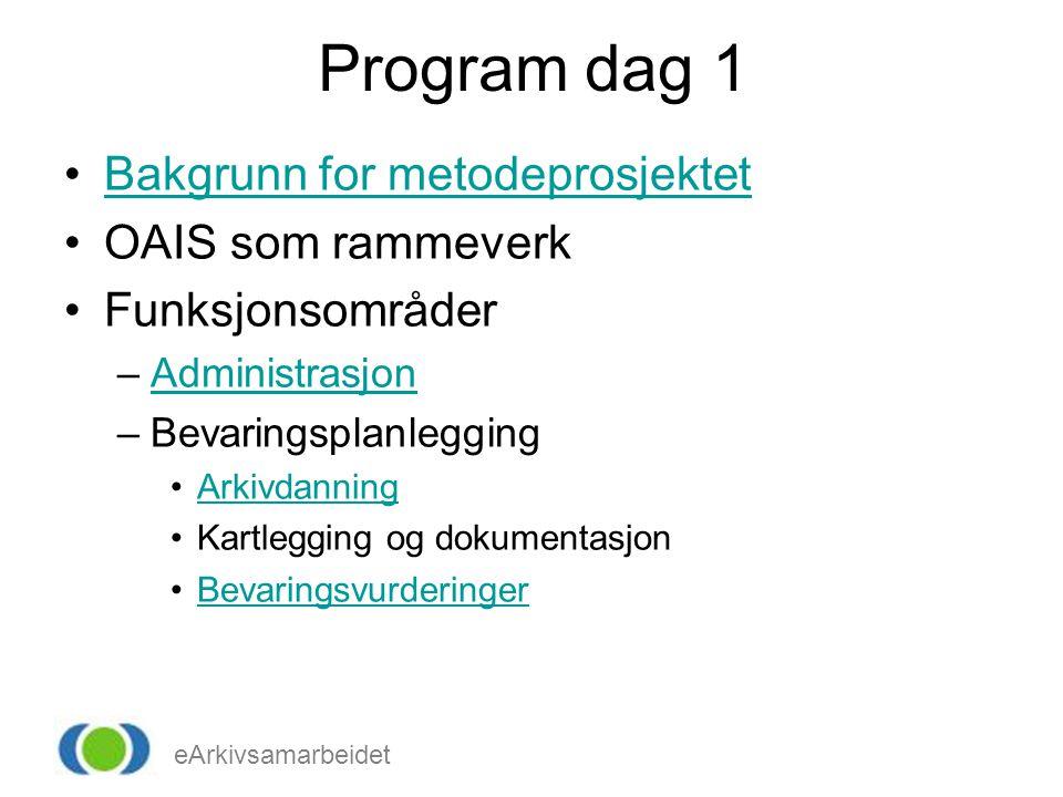 eArkivsamarbeidet Program dag 1 Bakgrunn for metodeprosjektet OAIS som rammeverk Funksjonsområder –AdministrasjonAdministrasjon –Bevaringsplanlegging Arkivdanning Kartlegging og dokumentasjon Bevaringsvurderinger