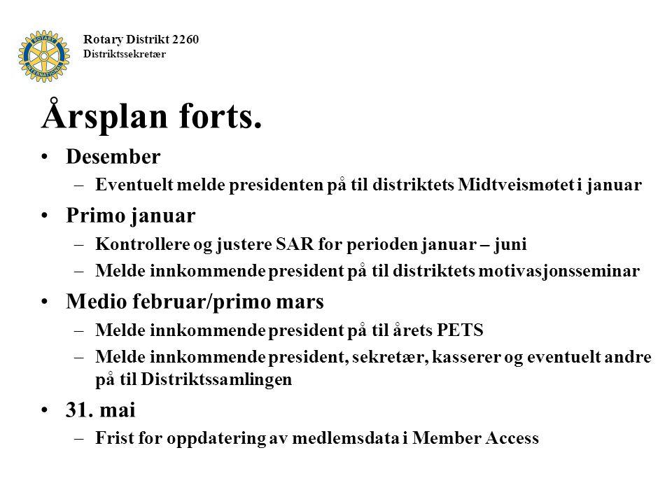 Rotary Distrikt 2260 Distriktssekretær Årsplan forts. Desember –Eventuelt melde presidenten på til distriktets Midtveismøtet i januar Primo januar –Ko