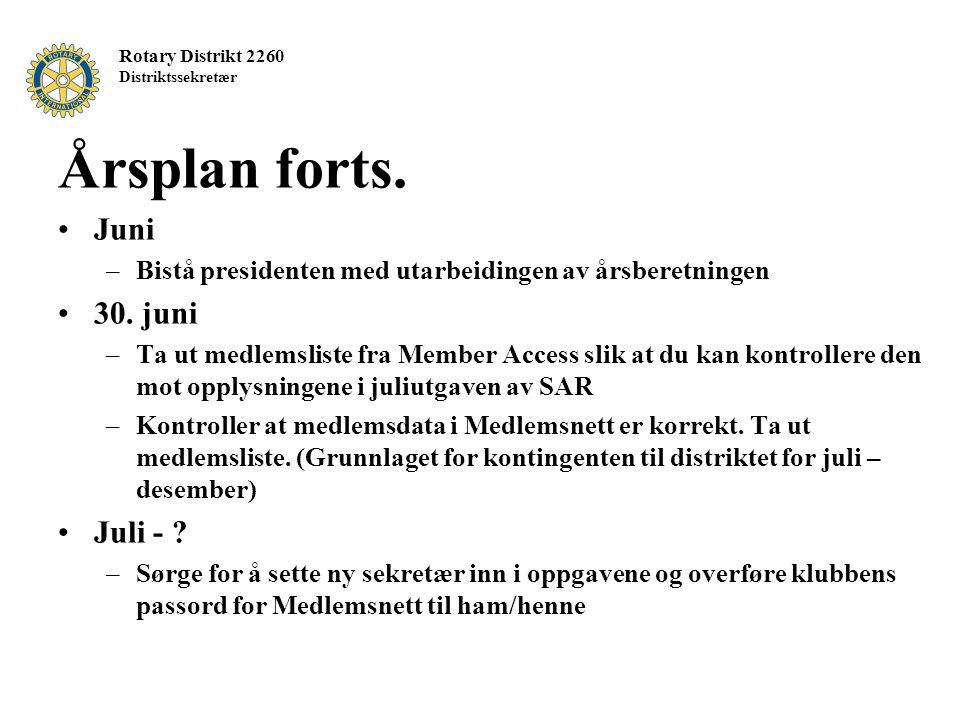 Rotary Distrikt 2260 Distriktssekretær Årsplan forts. Juni –Bistå presidenten med utarbeidingen av årsberetningen 30. juni –Ta ut medlemsliste fra Mem