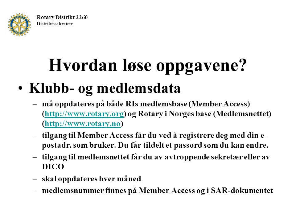 Rotary Distrikt 2260 Distriktssekretær Hvordan løse oppgavene? Klubb- og medlemsdata –må oppdateres på både RIs medlemsbase (Member Access) (http://ww