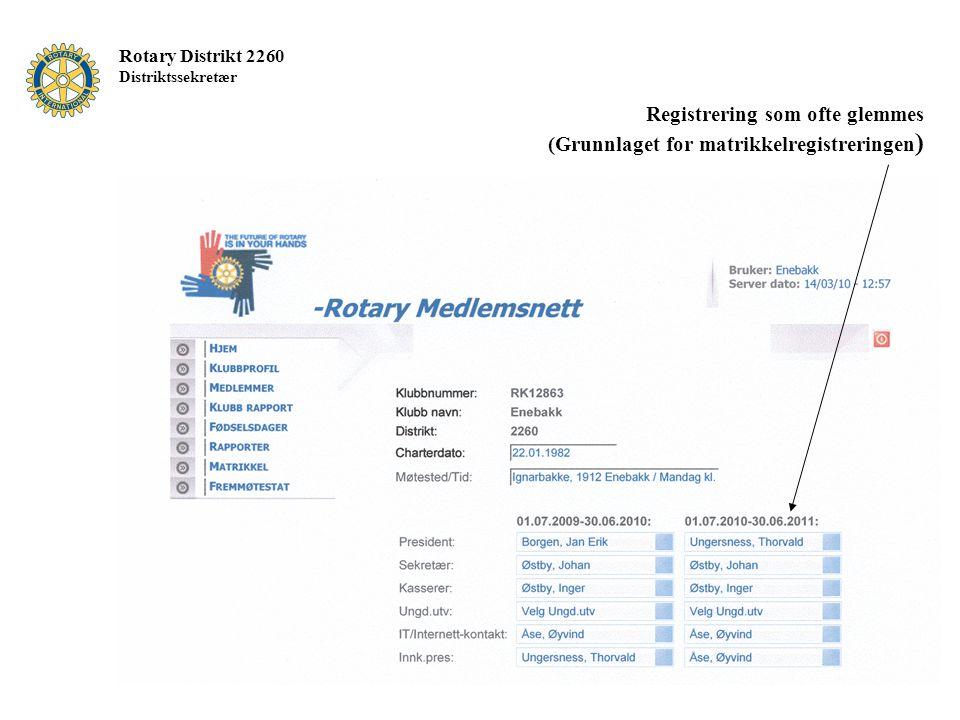 Rotary Distrikt 2260 Distriktssekretær Registrering som ofte glemmes (Grunnlaget for matrikkelregistreringen )