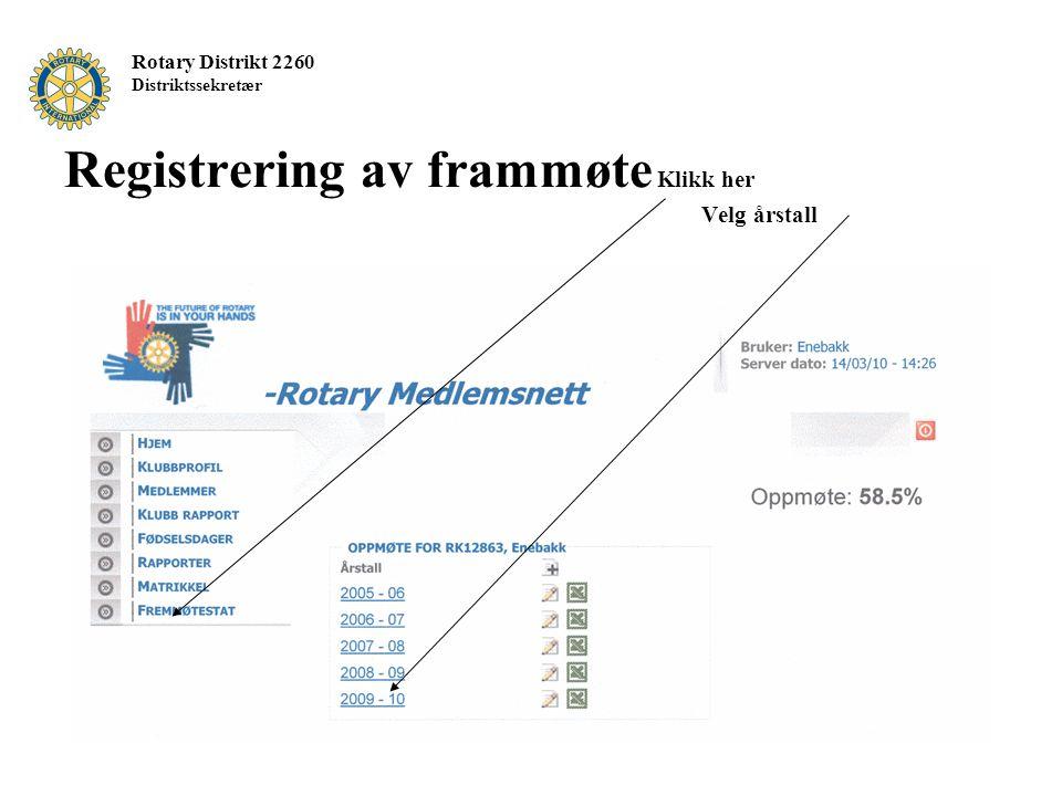 Rotary Distrikt 2260 Distriktssekretær Registrering av frammøte Klikk her Velg årstall