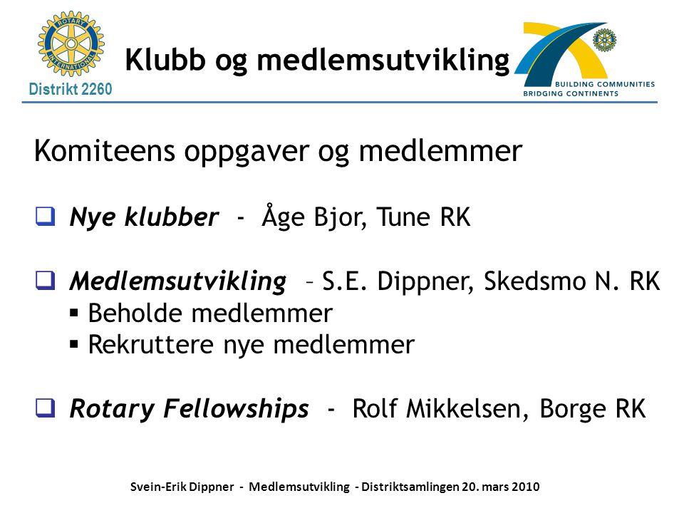 Distrikt 2260 Klubb og medlemsutvikling Komiteens oppgaver og medlemmer  Nye klubber - Åge Bjor, Tune RK  Medlemsutvikling – S.E. Dippner, Skedsmo N