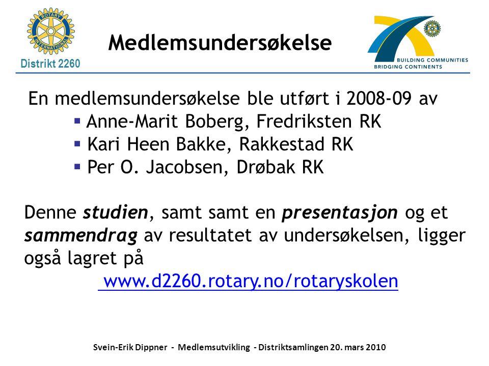Distrikt 2260 Medlemsundersøkelse En medlemsundersøkelse ble utført i 2008-09 av  Anne-Marit Boberg, Fredriksten RK  Kari Heen Bakke, Rakkestad RK 