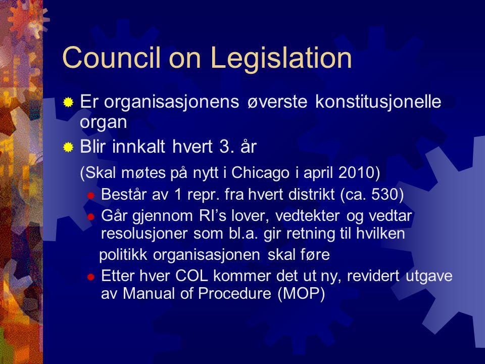 Council on Legislation  Er organisasjonens øverste konstitusjonelle organ  Blir innkalt hvert 3. år (Skal møtes på nytt i Chicago i april 2010)  Be