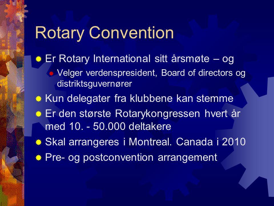 Rotary Convention  Er Rotary International sitt årsmøte – og  Velger verdenspresident, Board of directors og distriktsguvernører  Kun delegater fra