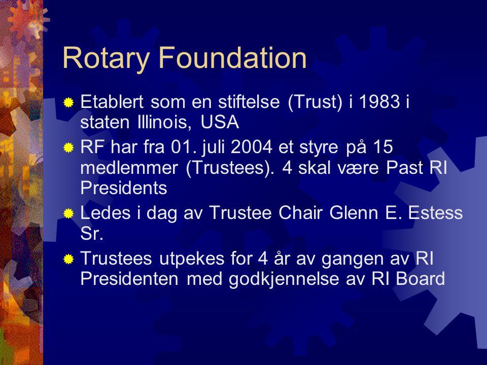 Rotary Foundation  Etablert som en stiftelse (Trust) i 1983 i staten Illinois, USA  RF har fra 01. juli 2004 et styre på 15 medlemmer (Trustees). 4