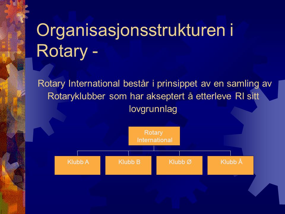 Organisasjonsstrukturen i Rotary - Rotary International består i prinsippet av en samling av Rotaryklubber som har akseptert å etterleve RI sitt lovgr