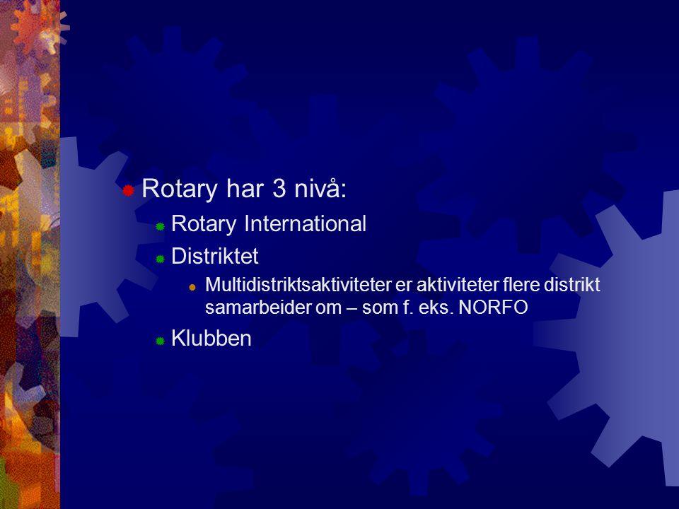  Rotary har 3 nivå:  Rotary International  Distriktet Multidistriktsaktiviteter er aktiviteter flere distrikt samarbeider om – som f. eks. NORFO 