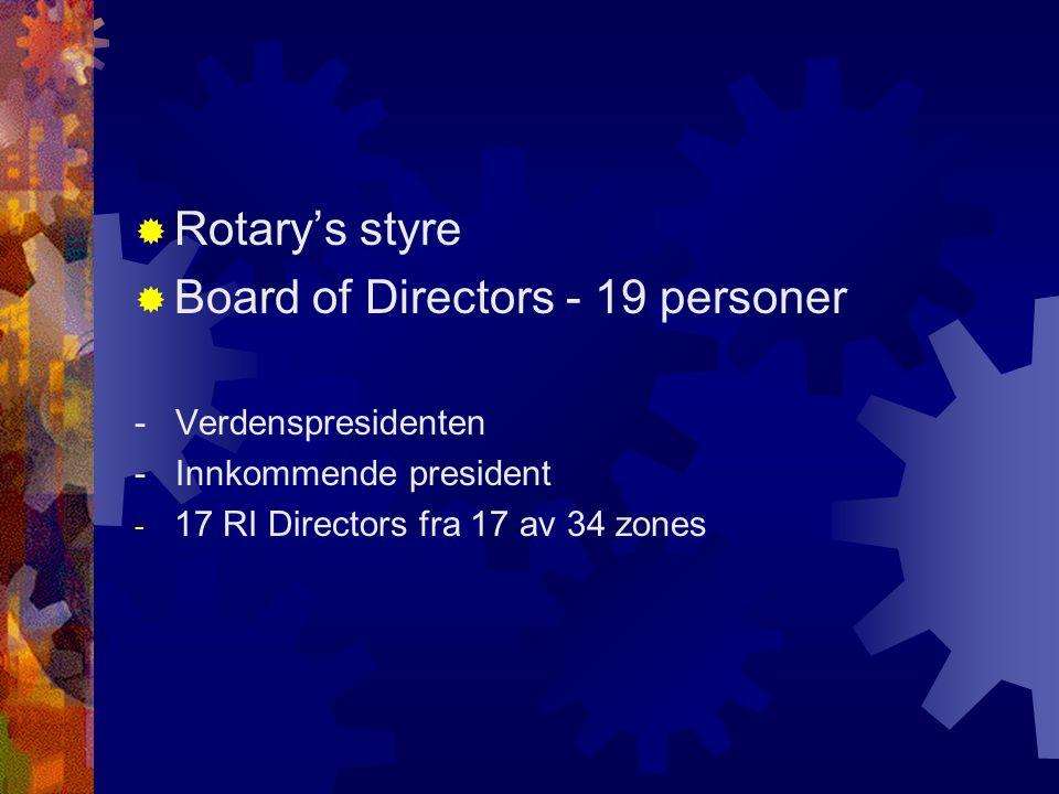  Rotary's styre  Board of Directors - 19 personer - Verdenspresidenten - Innkommende president - 17 RI Directors fra 17 av 34 zones