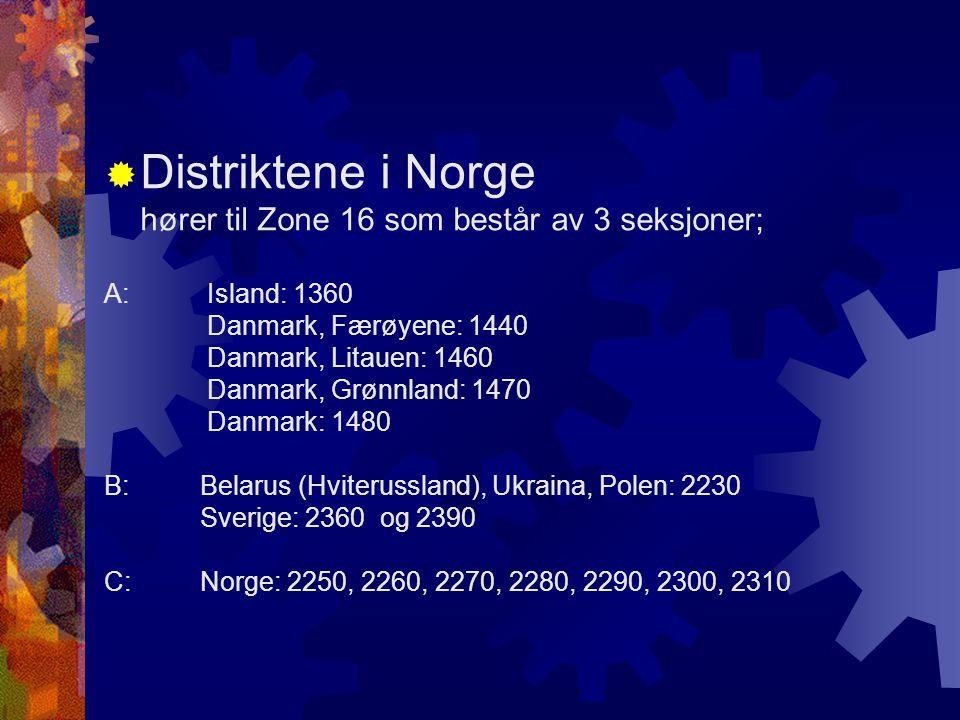  Distriktene i Norge hører til Zone 16 som består av 3 seksjoner; A: Island: 1360 Danmark, Færøyene: 1440 Danmark, Litauen: 1460 Danmark, Grønnland:
