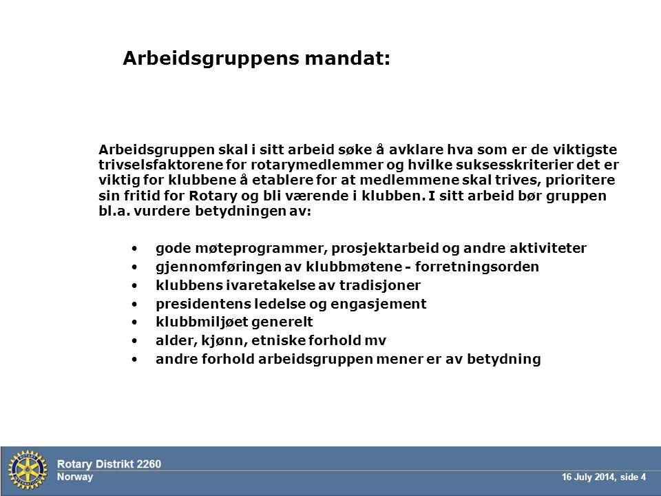 16 July 2014, side 4 Arbeidsgruppens mandat: Arbeidsgruppen skal i sitt arbeid søke å avklare hva som er de viktigste trivselsfaktorene for rotarymedl