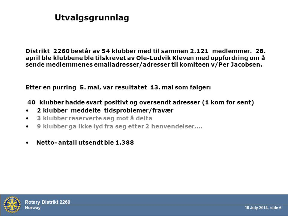 16 July 2014, side 7 Feltperiode, utvalg og respons Undersøkelsen ble sendt ut onsdag 14.mai 2009 klokken 11:30.