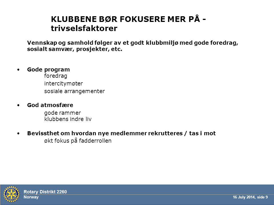 16 July 2014, side 9 KLUBBENE BØR FOKUSERE MER PÅ - trivselsfaktorer Vennskap og samhold følger av et godt klubbmiljø med gode foredrag, sosialt samvæ