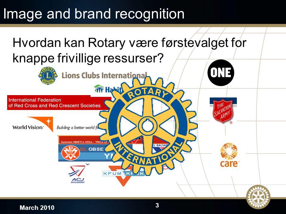 3 March 2010 Image and brand recognition Hvordan kan Rotary være førstevalget for knappe frivillige ressurser?