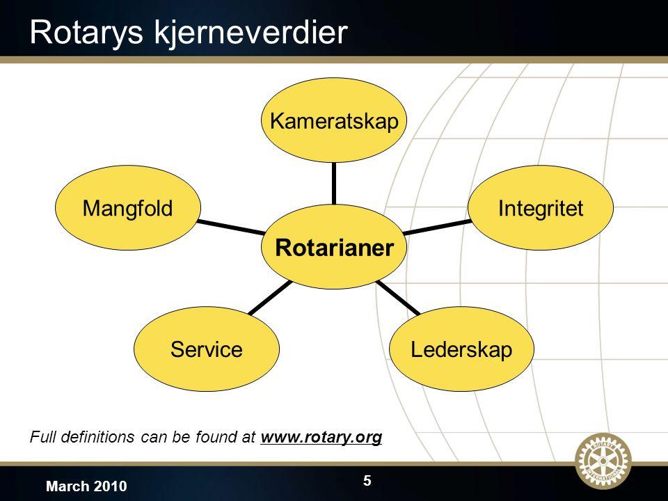 5 March 2010 Rotarys kjerneverdier Full definitions can be found at www.rotary.orgwww.rotary.org Rotarianer KameratskapIntegritetLederskapServiceMangf
