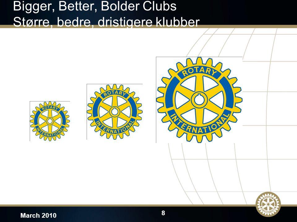 8 March 2010 Bigger, Better, Bolder Clubs Større, bedre, dristigere klubber