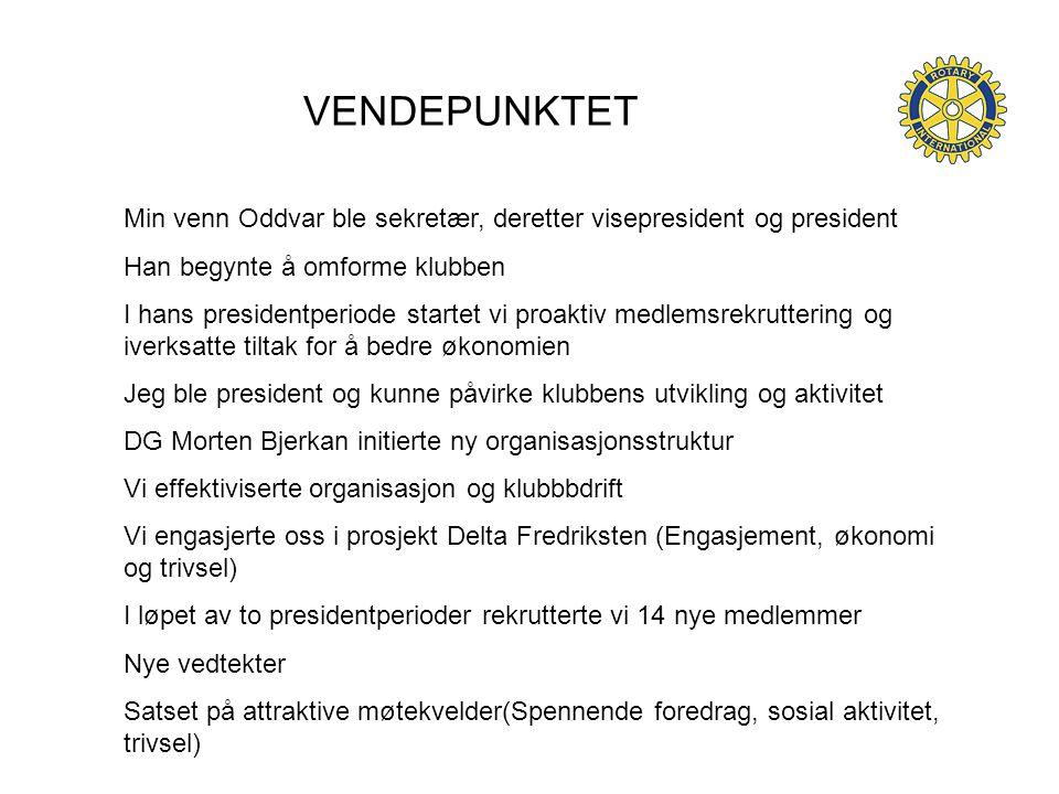VENDEPUNKTET Min venn Oddvar ble sekretær, deretter visepresident og president Han begynte å omforme klubben I hans presidentperiode startet vi proakt