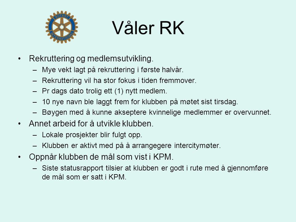 Våler RK Rekruttering og medlemsutvikling. –Mye vekt lagt på rekruttering i første halvår.