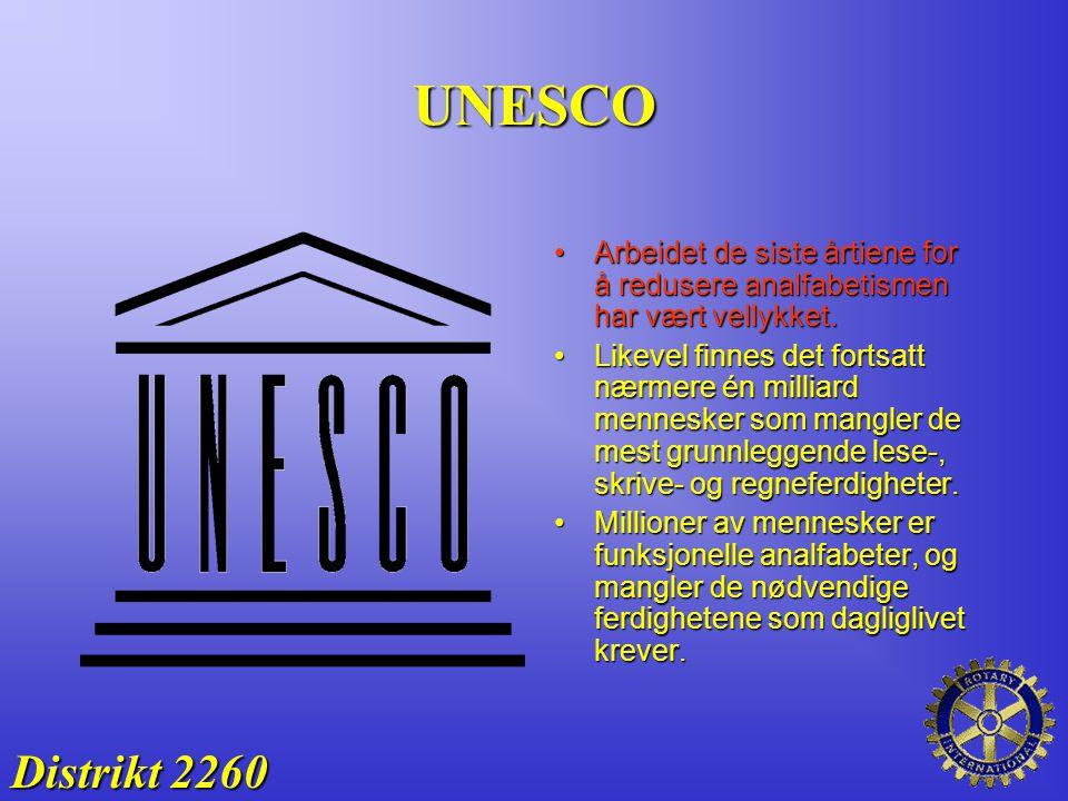 UNESCO Distrikt 2260 Arbeidet de siste årtiene for å redusere analfabetismen har vært vellykket.Arbeidet de siste årtiene for å redusere analfabetisme