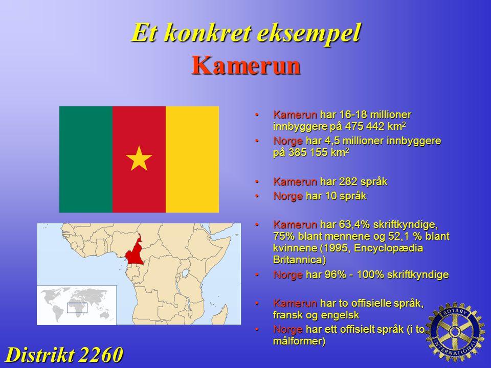 Et konkret eksempel Kamerun Distrikt 2260 Kamerun har 16-18 millioner innbyggere på 475 442 km 2Kamerun har 16-18 millioner innbyggere på 475 442 km 2