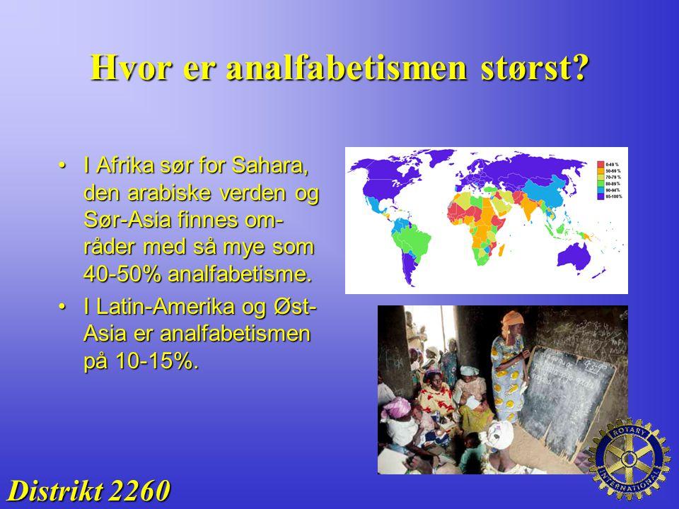 Hvor er analfabetismen størst? Distrikt 2260 I Afrika sør for Sahara, den arabiske verden og Sør-Asia finnes om- råder med så mye som 40-50% analfabet