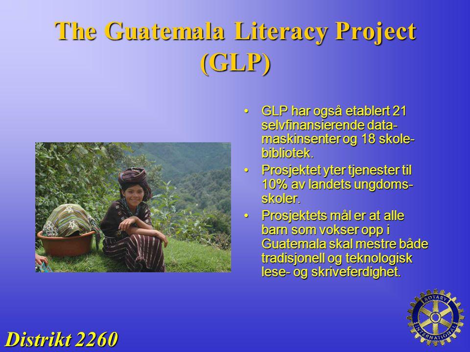 The Guatemala Literacy Project (GLP) GLP har også etablert 21 selvfinansierende data- maskinsenter og 18 skole- bibliotek.GLP har også etablert 21 sel