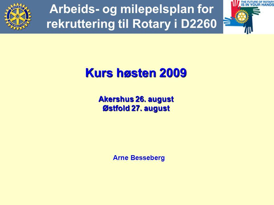 Kurs høsten 2009 Akershus 26. august Østfold 27. august Arne Besseberg Arbeids- og milepelsplan for rekruttering til Rotary i D2260