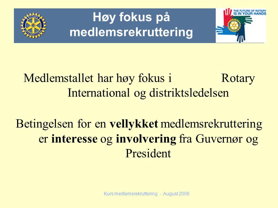 Medlemstallet har høy fokus i Rotary International og distriktsledelsen Betingelsen for en vellykket medlemsrekruttering er interesse og involvering f