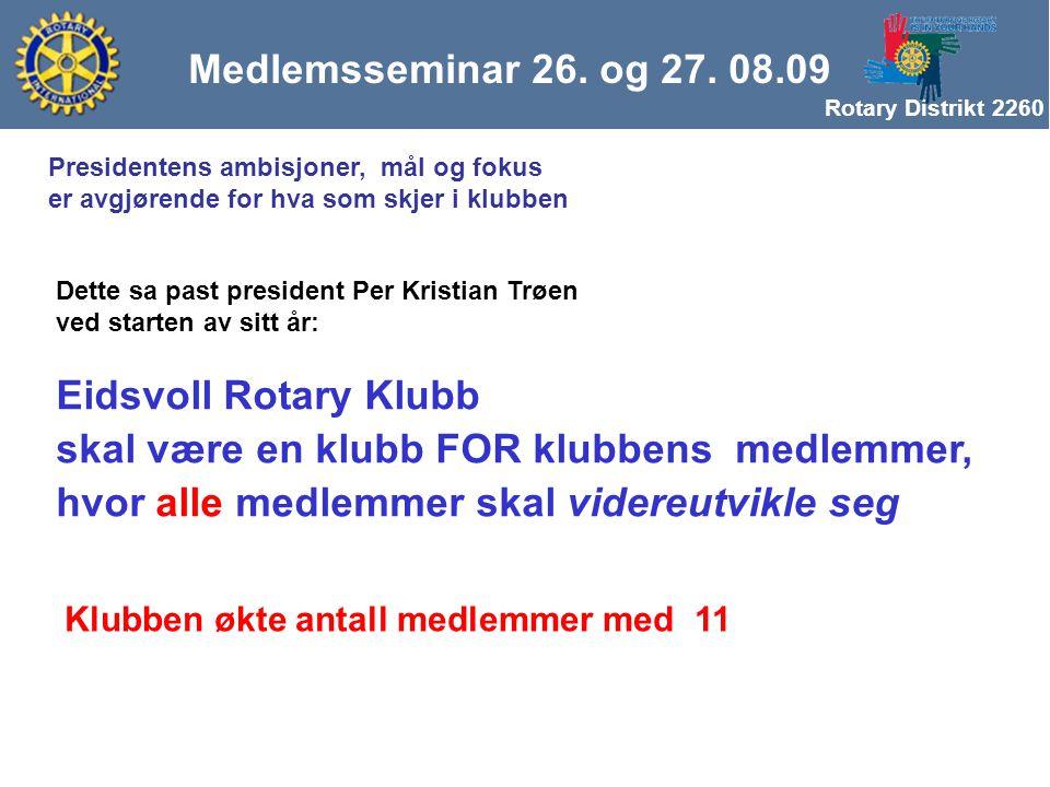 Rotary Distrikt 2260 Eidsvoll Rotary Klubb skal være en klubb FOR klubbens medlemmer, hvor alle medlemmer skal videreutvikle seg Dette sa past president Per Kristian Trøen ved starten av sitt år: Klubben økte antall medlemmer med 11 Presidentens ambisjoner, mål og fokus er avgjørende for hva som skjer i klubben Medlemsseminar 26.