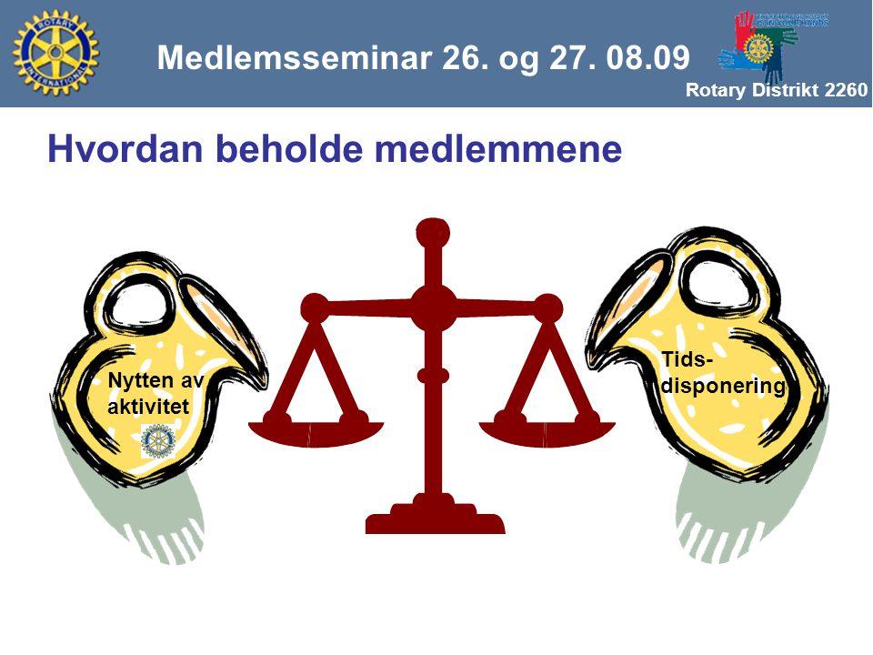 Rotary Distrikt 2260 Nytten av aktivitet Tids- disponering Medlemsseminar 26.