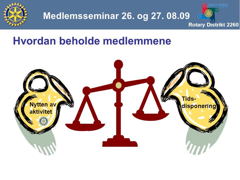 Rotary Distrikt 2260 Nytten av aktivitet Tids- disponering Medlemsseminar 26. og 27. 08.09 Hvordan beholde medlemmene