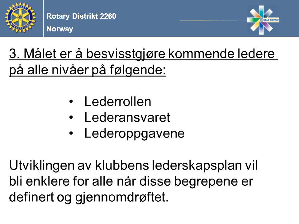 Norway Rotary Distrikt 2260 4.Lederrollen, herunder: å stå fram som et godt eksempel og være et forbilde , LEAD THE WAY å motivere og engasjere å involvere og la alle så langt råd er, få et eierforhold til sakene/prosjektene nødvendigheten av god kommunikasjon på alle plan og med alle midler og ikke glemme nødvendigheten av den menneskelige kontakt