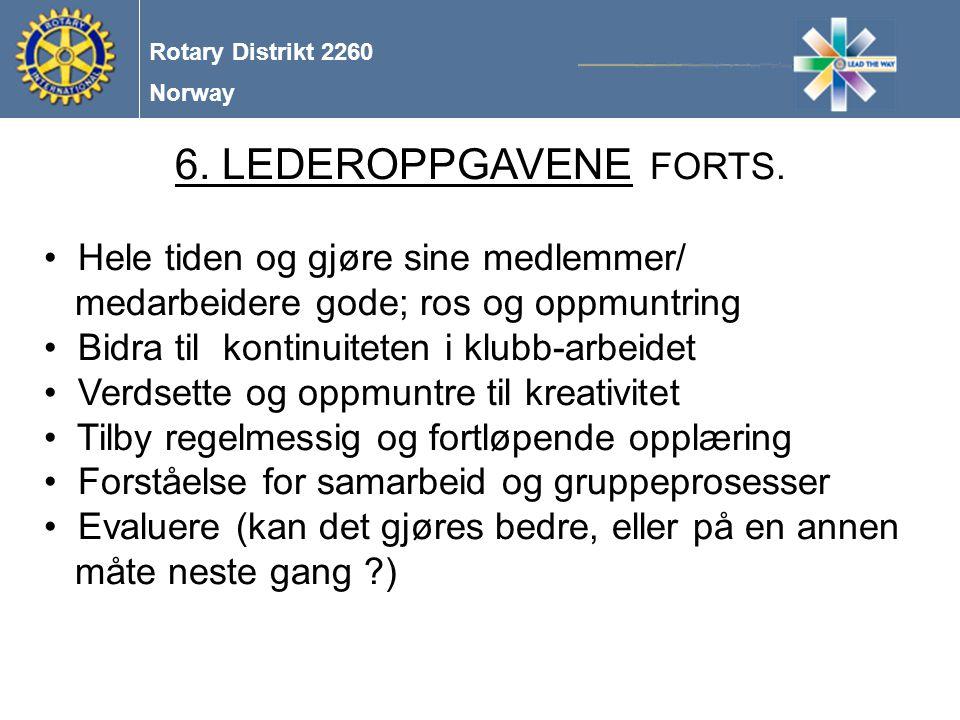 Norway Rotary Distrikt 2260 6.LEDEROPPGAVENE FORTS.