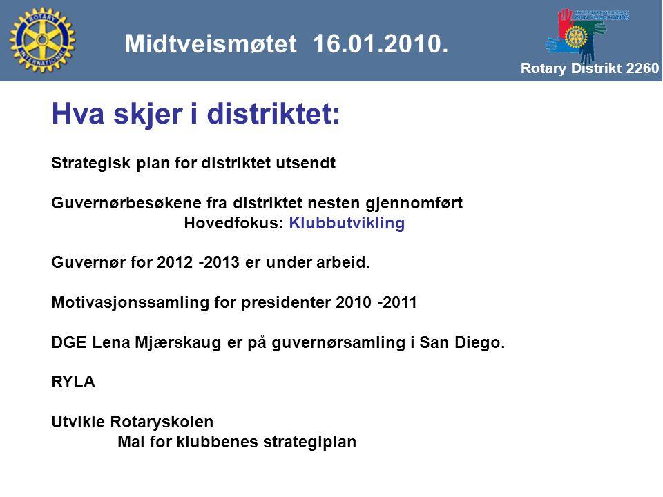Rotary Distrikt 2260 Strategisk plan for distriktet utsendt Guvernørbesøkene fra distriktet nesten gjennomført Hovedfokus: Klubbutvikling Guvernør for 2012 -2013 er under arbeid.