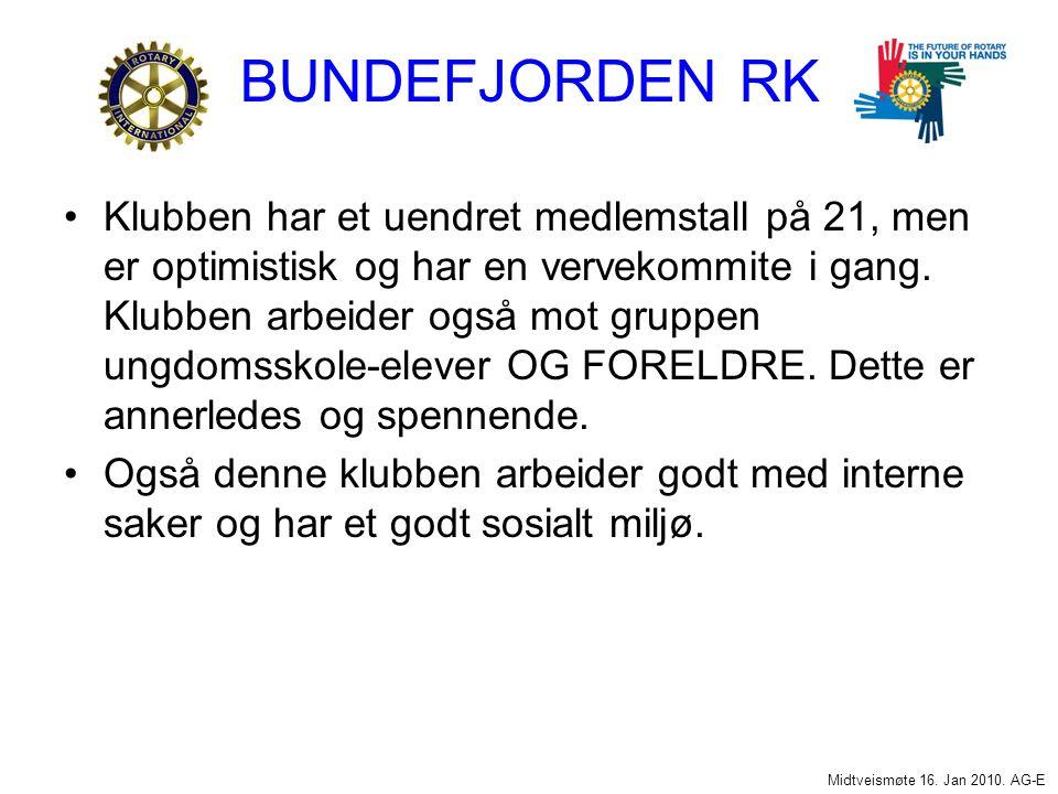 BUNDEFJORDEN RK Klubben har et uendret medlemstall på 21, men er optimistisk og har en vervekommite i gang.