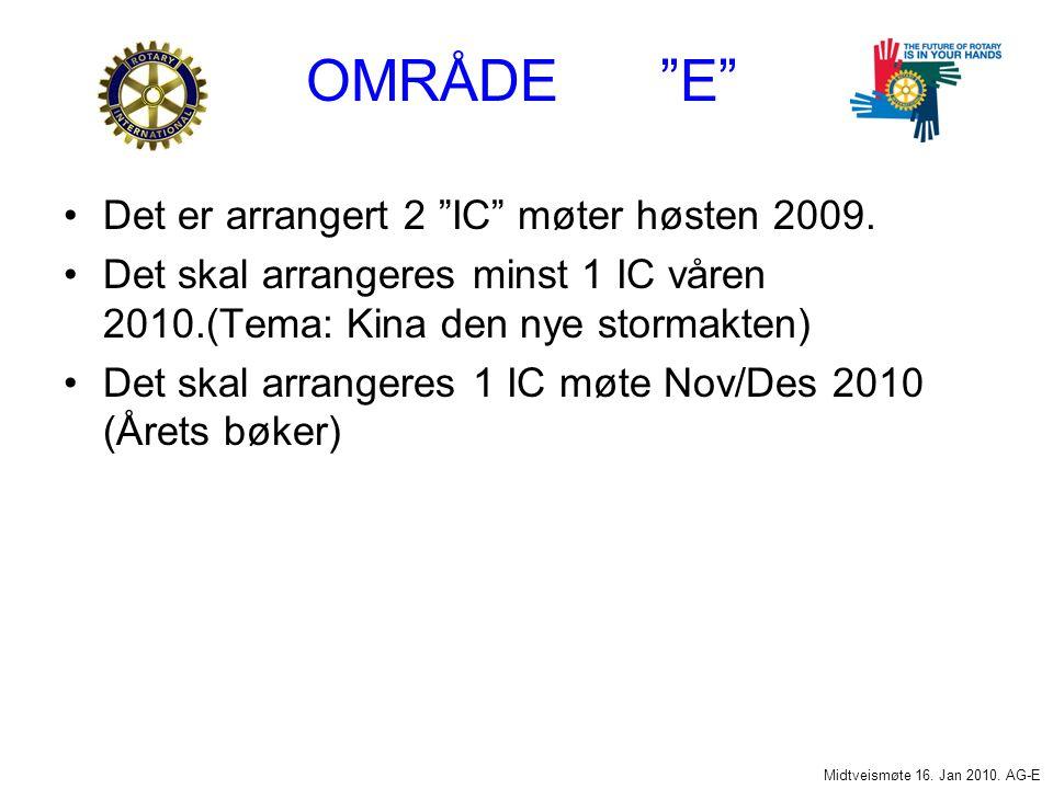 OMRÅDE E Det er arrangert 2 IC møter høsten 2009.