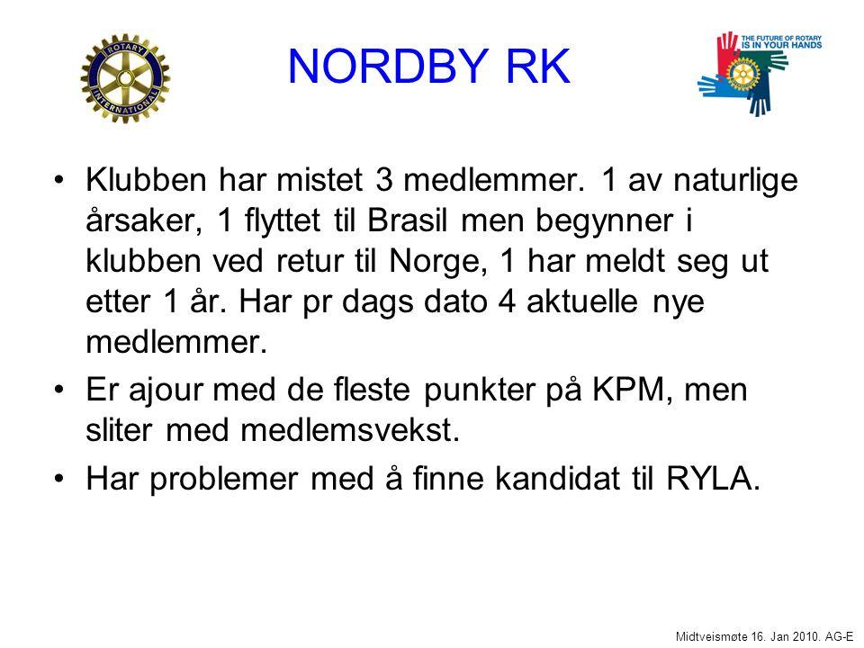 NORDBY RK Klubben har mistet 3 medlemmer.