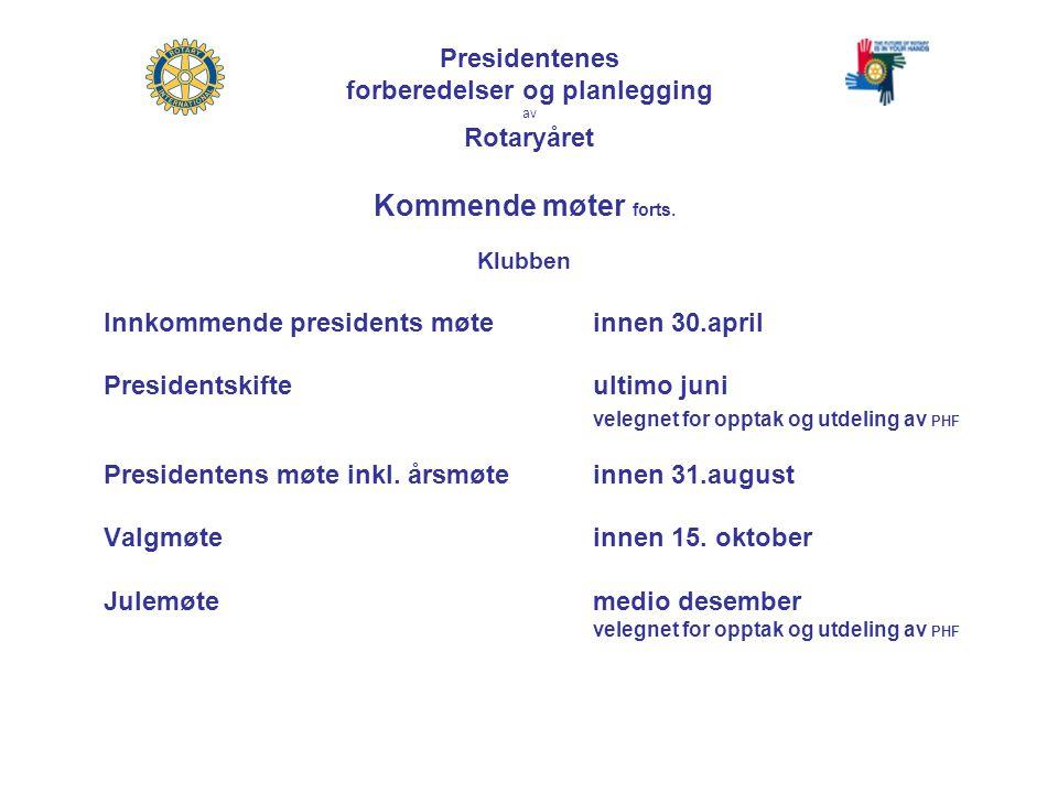Presidentenes forberedelser og planlegging av Rotaryåret Kommende møter forts.
