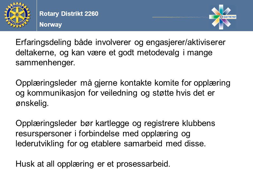 Norway Rotary Distrikt 2260 Erfaringsdeling både involverer og engasjerer/aktiviserer deltakerne, og kan være et godt metodevalg i mange sammenhenger.