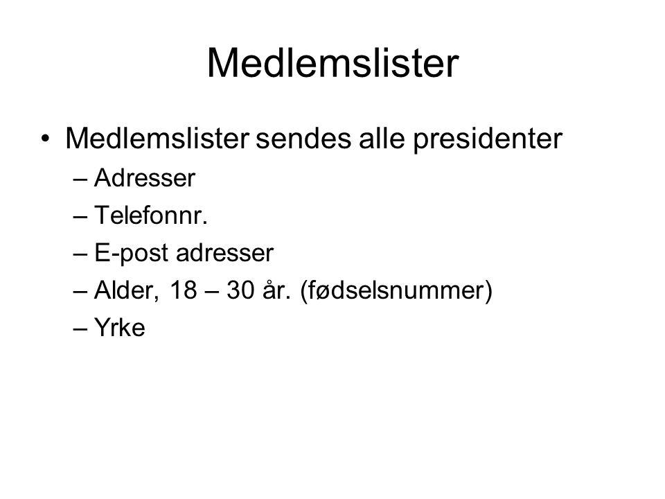 Medlemslister Medlemslister sendes alle presidenter –Adresser –Telefonnr. –E-post adresser –Alder, 18 – 30 år. (fødselsnummer) –Yrke