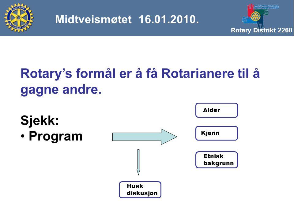Rotary Distrikt 2260 Midtveismøtet 16.01.2010. Rotary's formål er å få Rotarianere til å gagne andre. Sjekk: Program Alder Kjønn Etnisk bakgrunn Husk