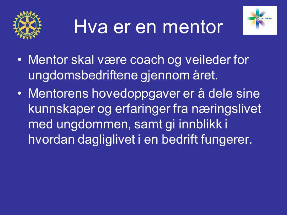 Hva er en mentor Mentor skal være coach og veileder for ungdomsbedriftene gjennom året.
