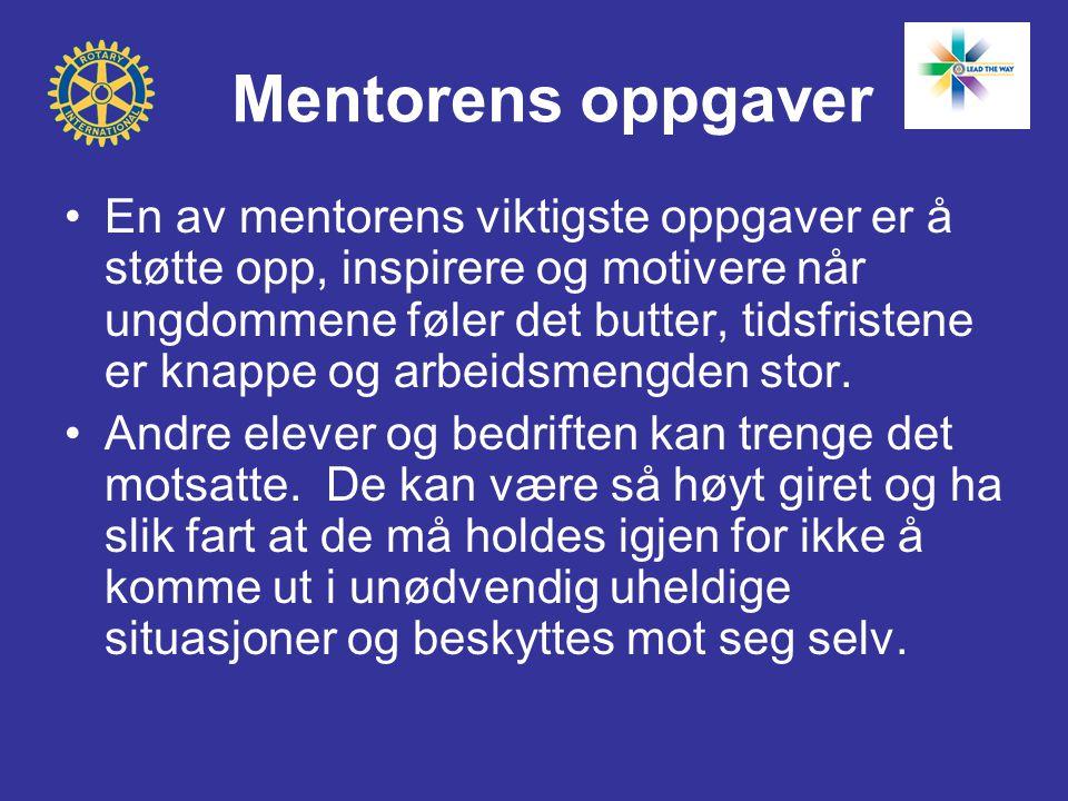 Mentorens oppgaver En av mentorens viktigste oppgaver er å støtte opp, inspirere og motivere når ungdommene føler det butter, tidsfristene er knappe og arbeidsmengden stor.