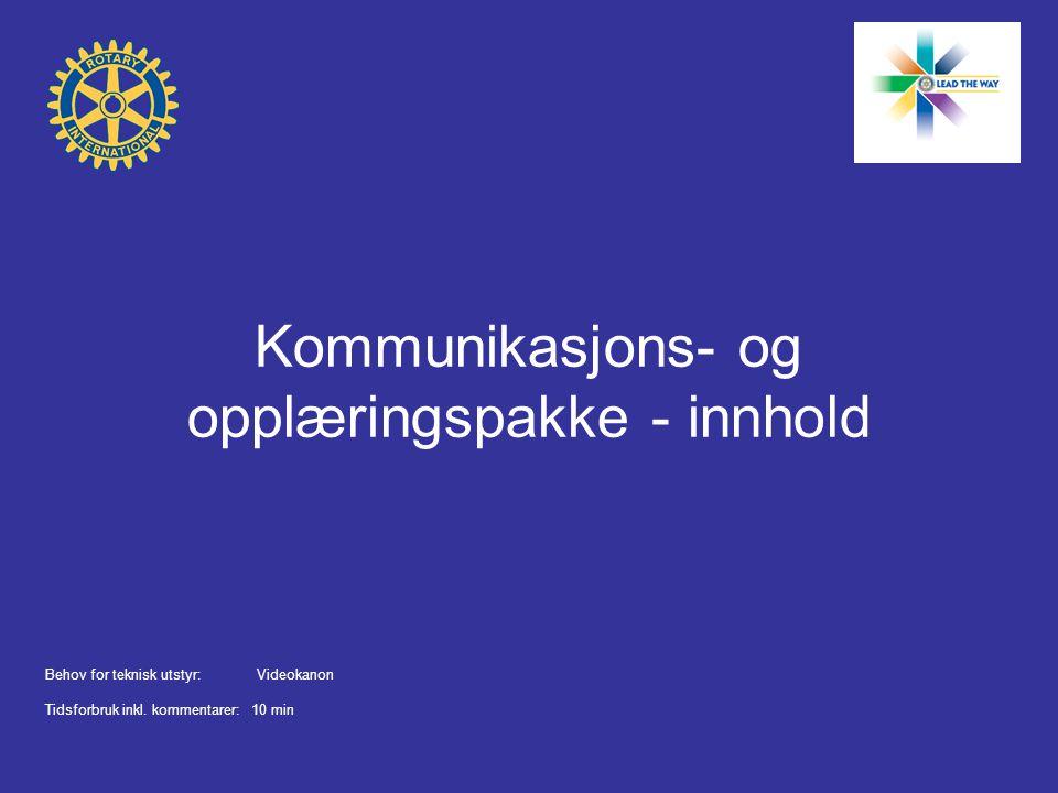 Kommunikasjons- og opplæringspakke - innhold Behov for teknisk utstyr:Videokanon Tidsforbruk inkl.