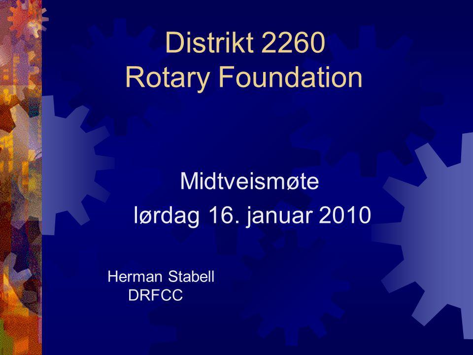 Distrikt 2260 Rotary Foundation Midtveismøte lørdag 16. januar 2010 Herman Stabell DRFCC