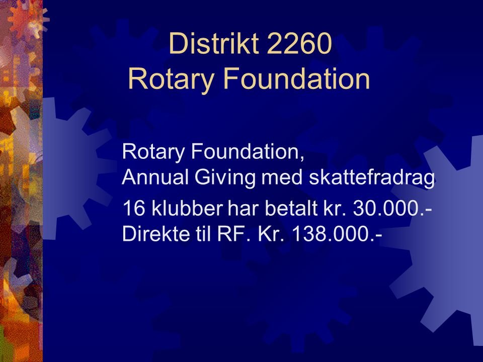 Distrikt 2260 Rotary Foundation Rotary Foundation, The Permanent Fund Direkte innbetalt kr. 5.600.-
