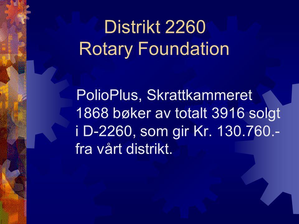 Distrikt 2260 Rotary Foundation PolioPlus, Skrattkammeret 1868 bøker av totalt 3916 solgt i D-2260, som gir Kr.